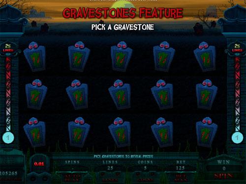 free Alaxe in Zombieland slot pick gravestones
