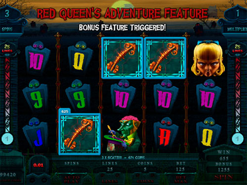 free Alaxe in Zombieland slot red queen's adventure feature