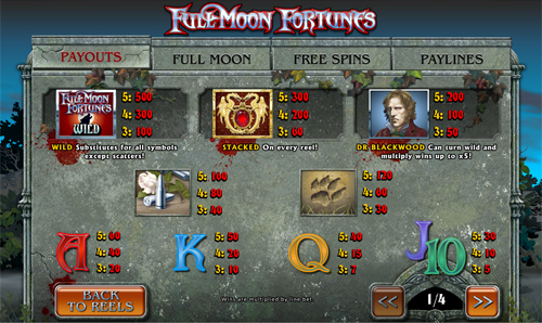 free Full Moon Fortunes slot paytable