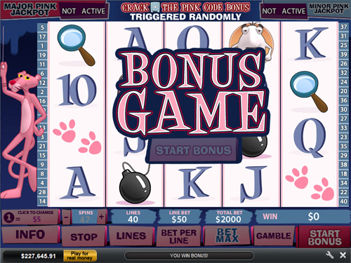free Pink Panther bonus game