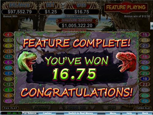 free Megasaur free spins prize