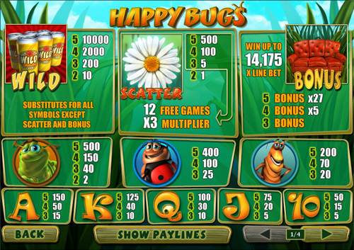 free Happy Bugs slot paytable