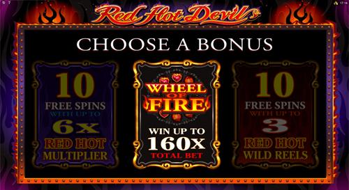 free Red Hot Devil bonus choice