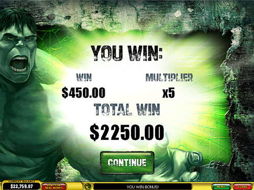 free Incredible Hulk 50 Lines bonus feature prize