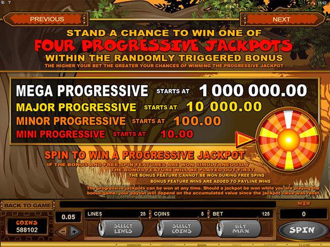 free Mega Moolah slot bonus feature