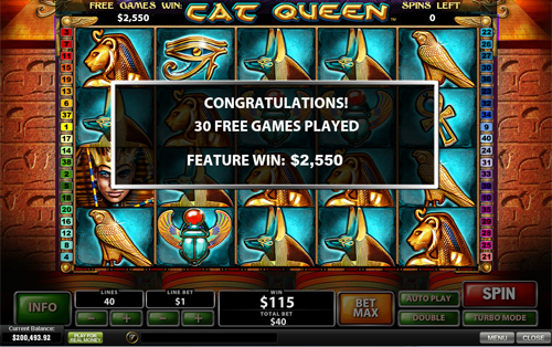 free Cat Queen free spins feature total prize