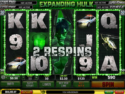 free Incredible Hulk 50 Lines 2 respins feature