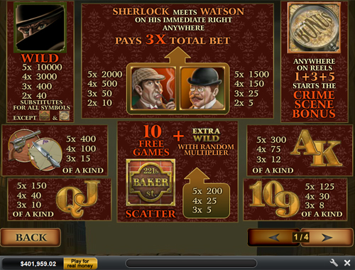 free Sherlock Mystery slot paytable