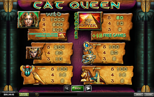 free Cat Queen slot paytable