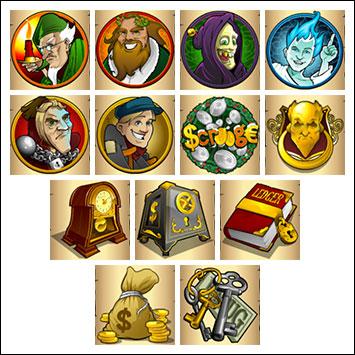 free Scrooge slot game symbols