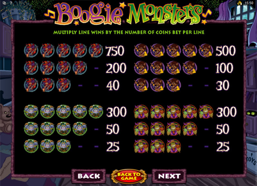 free Boogie Monsters slot paytable
