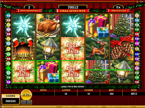 free Deck the Halls free spins feature