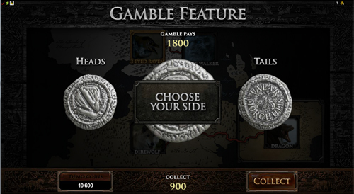 free Game of Thrones - 15 Lines gamble feature