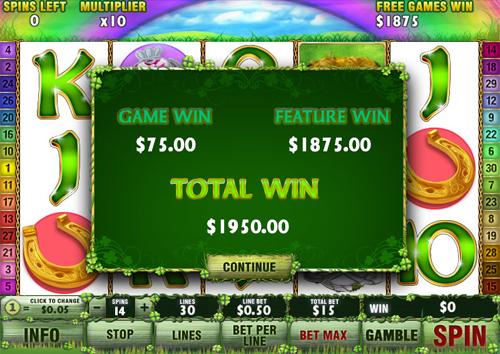 free Irish Luck Bonus Game Win