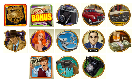 free Private Eye slot game symbols