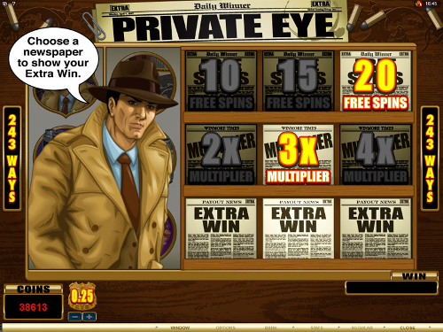 free Private Eye free spins feature