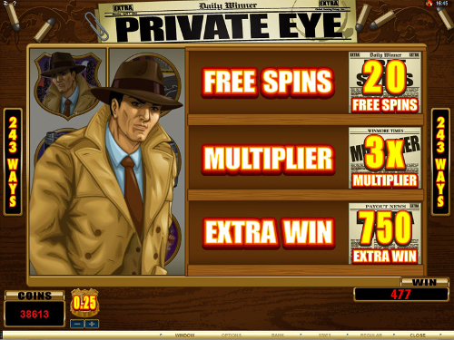 free Private Eye free spins bonus round