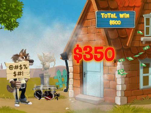 free Piggies and the Wolf bonus game brick house