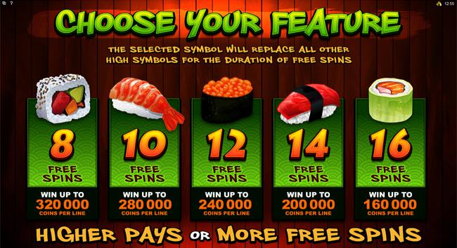 free So Much Sushi slot bonus feature