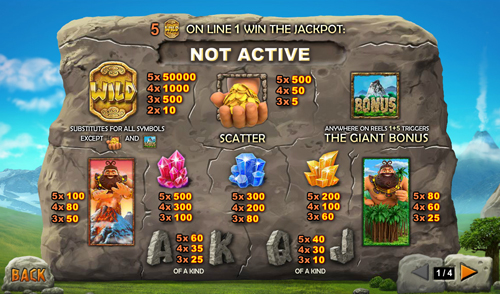 free Jackpot Giant slot paytable