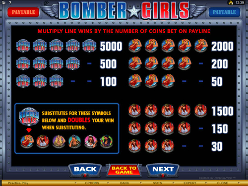 free Bomber Girls slot paytable