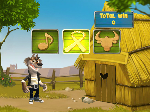 free Piggies and the Wolf bonus game straw house prize