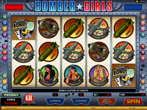 free Bomber Girls bonus game triggered
