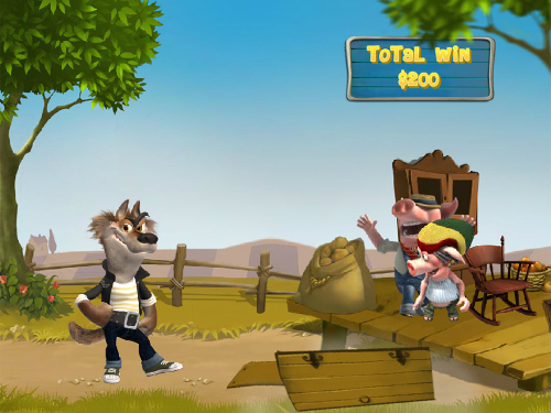 free Piggies and the Wolf bonus game wooden house