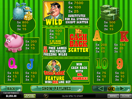 free Mr. Cashback free spins feature