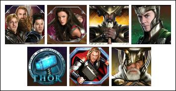 free Thor the Mighty Avenger slot game symbols
