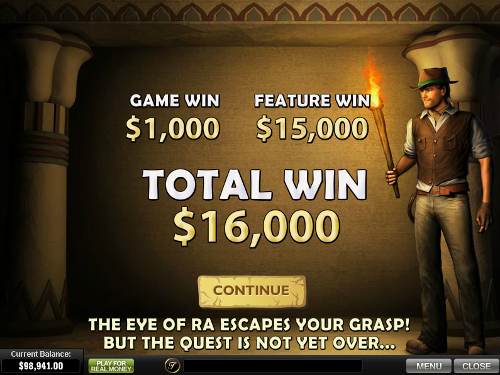 free Daring Dave and the Eye of Ra bonus feature win