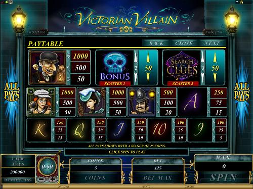 free Victorian Villain slot paytable