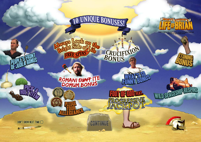 free Monty Python's Life of Brian slot bonus feature