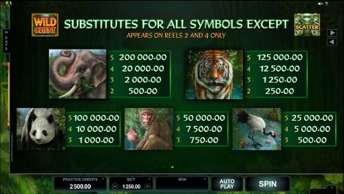 free Wild Orient slot paytable