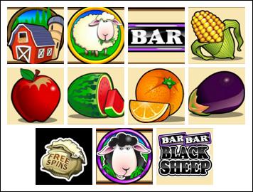 free Bar Bar Black Sheep 5 Reel slot game symbols
