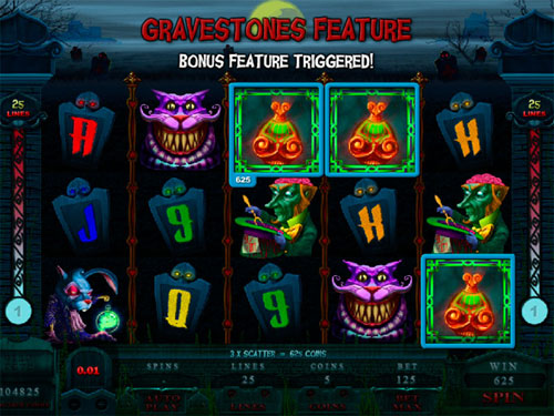 free Alaxe in Zombieland slot gravestones feature start