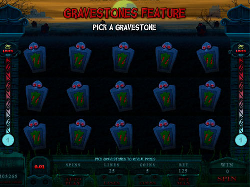 free Alaxe in Zombieland slot pick gravestones