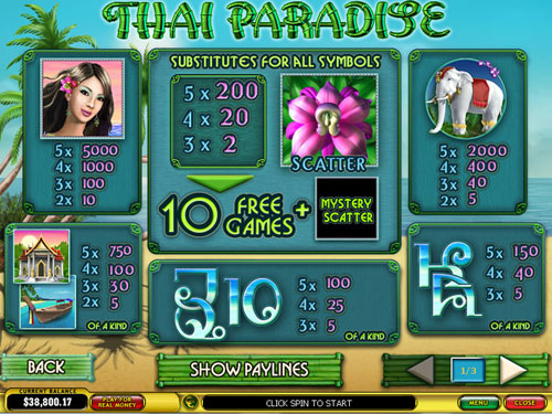 free Thai Paradise slot paytable