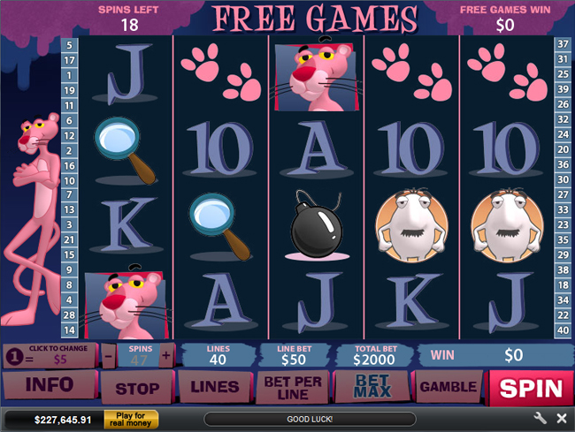 free Pink Panther slot bonus feature