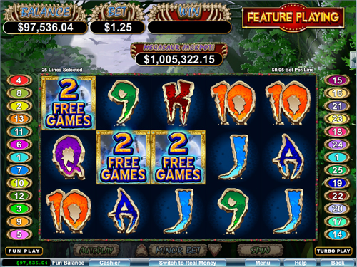free Megasaur free spins feature