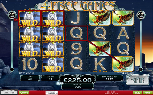 free White King slot bonus feature