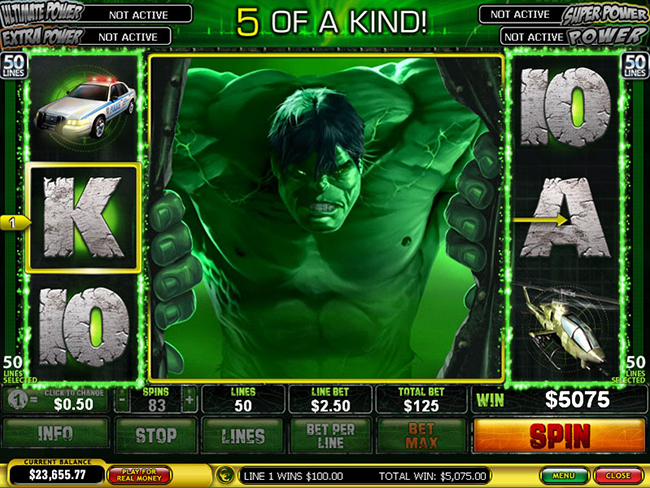 free Incredible Hulk 50 Lines slot bonus feature