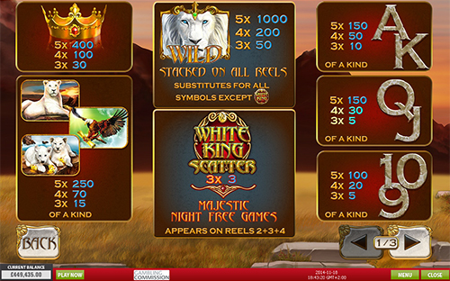 free White King slot paytable