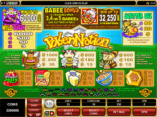 free Pollen Nation slot paytable