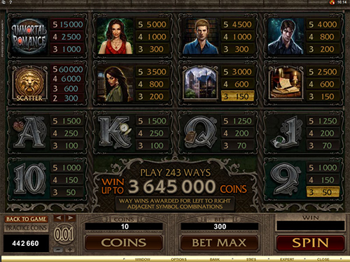 free Immortal Romance slot paytable