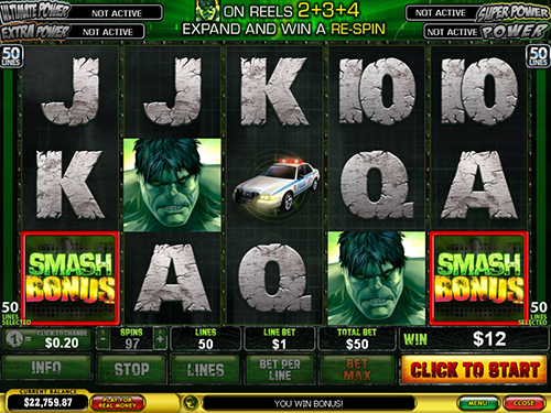 free Incredible Hulk 50 Lines smash bonus