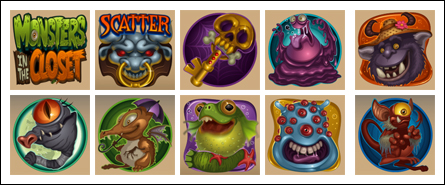 free Monsters In The Closet slot game symbols