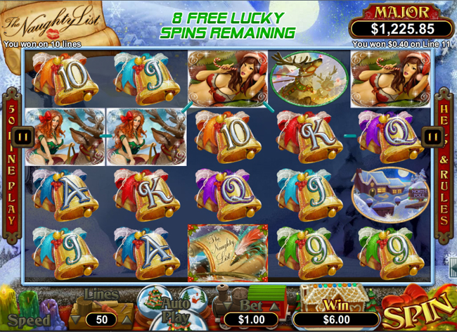 free The Naughty List slot bonus feature