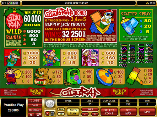 free Gift Rap slot paytable