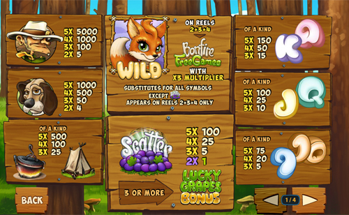 free Foxy Fortunes slot paytable